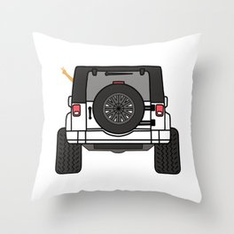 Jeep Wave Back View - White Jeep Throw Pillow
