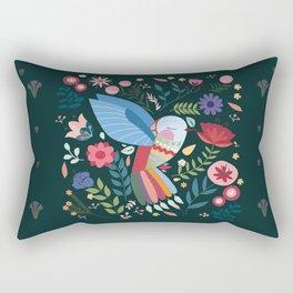 Folk Art Inspired Hummingbird With A Flurry Of Flowers Rectangular Pillow