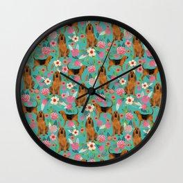 Bloodhound floral dog breed dog pattern pet friendly pet portraits custom dog gifts mint Wall Clock