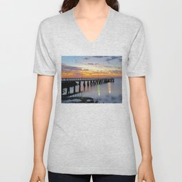 Wellington Point Jetty Sunrise Unisex V-Neck