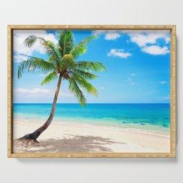 palm paradise emerald ocean tropical coast blue beach sea Serving Tray