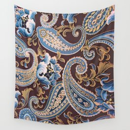 Blue Brown Vintage Paisley Wall Tapestry