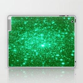 Emerald Green Glitter Stars Laptop & iPad Skin