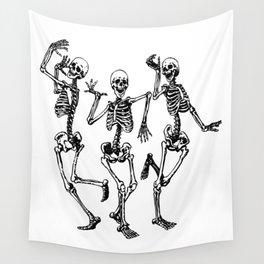 Three Dancing Skulls Wall Tapestry