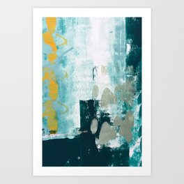 023.2: a vibrant abstract design in teal green and yellow by Alyssa Hamilton Art  Art Print