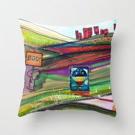Groovy Snoopy Nature Collage Throw Pillow