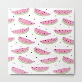 Summer Watermelon Watercolor Brushstroke Print Metal Print