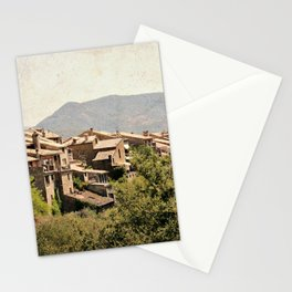 Little vintage town between forest and mountain Stationery Cards