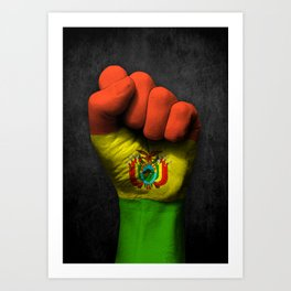 Bolivian Flag on a Raised Clenched Fist Art Print