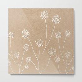 Dandelions flowers illustration on beige kraft Metal Print