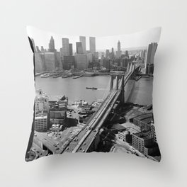 Looking NW Towards Manhattan / Twin Towers Throw Pillow
