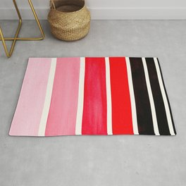 Red Minimalist Mid Century Modern Color Fields Ombre Watercolor Staggered Squares Rug