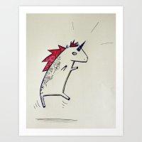 punk rock Art Prints featuring Punk Rock Unicorn ! by Justine Lecouffe