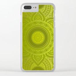 """Green Lemon Pattern Mandala Polka Dots"" Clear iPhone Case"