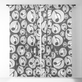 Music Pattern - Black and white #1 Sheer Curtain