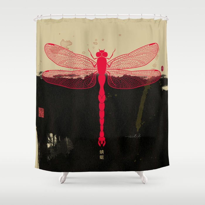 Big Dragonfly In Red And Black Shower Curtain