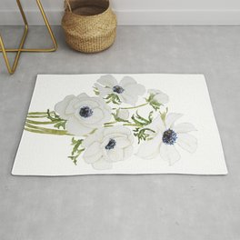 white anemone flower  watercolor painting Rug