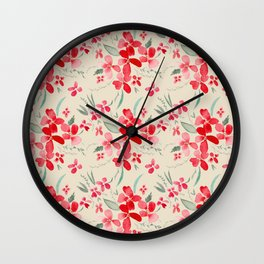 Red and Cream Floral Watercolor Wall Clock