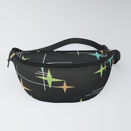Mid Century Modern Stars Black Turquoise Chartreuse Orange Fanny Pack
