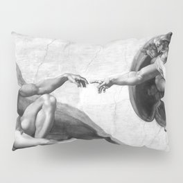 Black and White Creation of Adam Painting by Michelangelo Sistine Chapel Pillow Sham