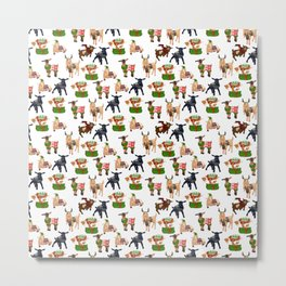 Christmas goats in sweaters repeating seamless pattern Metal Print