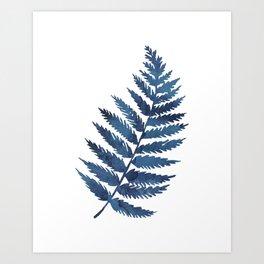 Blue watercolor fern Art Print