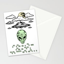 Funny Alien UFO Flying Saucers Prank Morse Code Aliens Like Coffee Stationery Cards