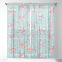 Beautiful Abstract Flowers In Red And White Sheer Curtain