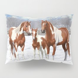 Chestnut Pinto Paint Horses In Snow Pillow Sham