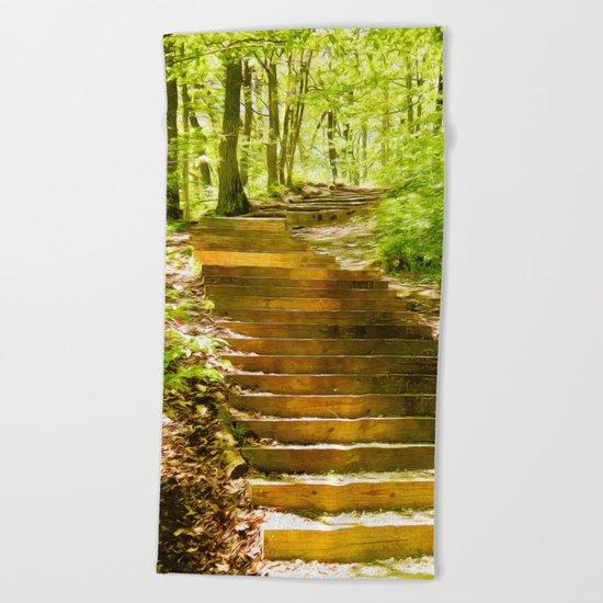 Steps Through The Forest Beach Towel