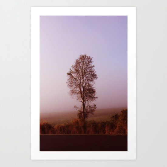 Standing alone in the fog Art Print