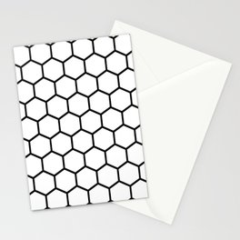 White and black honeycomb pattern Stationery Cards