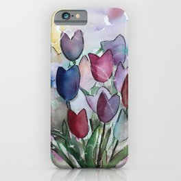 Loose semi-abstract tulip painting iPhone Case