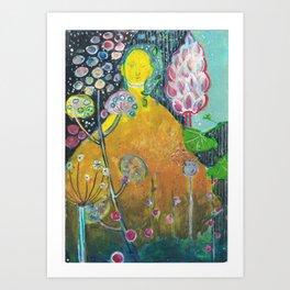 Budha in the garden Art Print