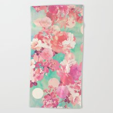 Romantic Pink Retro Floral Pattern Teal Polka Dots Beach Towel