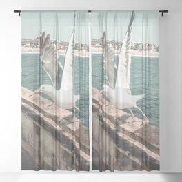 Seagull Taking Flight // California West Coast Pier Vibes Beach Ocean Surf City USA Sheer Curtain