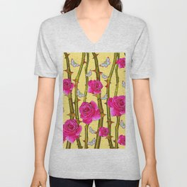 WHITE BUTTERFLIES & CERISE PINK ROSE THORN CANES YELLOW Unisex V-Neck