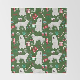 Great Pyrenees christmas festive dog gifts for the dog lover pet friendly pet portraits Throw Blanket