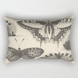 Butterflies Swallow-tailed winged Butterfly and Insect Bohemian Hand Drawn Hollar Bohemian Rectangular Pillow