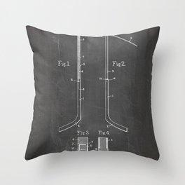 Ice Hockey Stick Patent - Ice Hockey Art - Black Chalkboard Throw Pillow