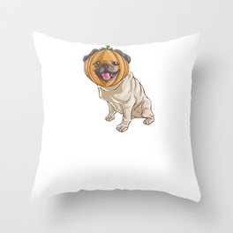 Pug Pumpkin, It's Show Time Funny Halloween Horror Scary Throw Pillow