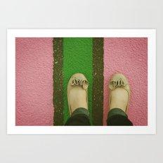 vintage pink & green Art Print