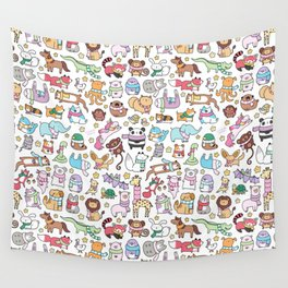 Winter Animals with Scarves Doodle Wall Tapestry