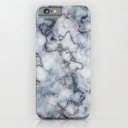 Blue Grey and Rose Gold Veined Faux Marble Repeat iPhone Case