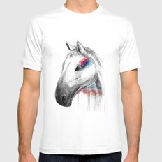 Rainbow Horse MEDIUM Mens Fitted Tee White