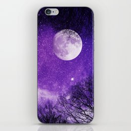 Nightsky with Full Moon in Ultra Violet iPhone Skin