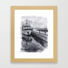 Kirkland Marina Waterfront Boat Watercolor Seattle Framed Art Print