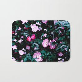 Emerald Green And Rose Blush Floral Bath Mat