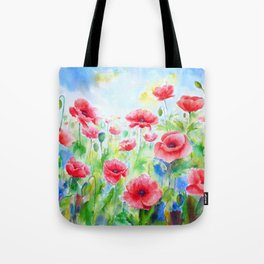 Watercolor red poppy field Tote Bag