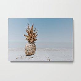 pineapple at the beach v Metal Print